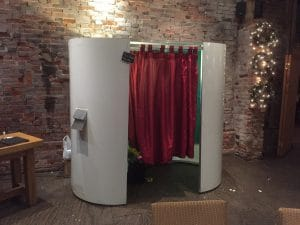 White Photo Booth Red Curtain