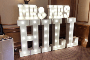 Mr and Mrs Hill Light Up Letters