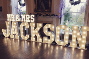 Mr and Mrs Jackson Light Up Letters